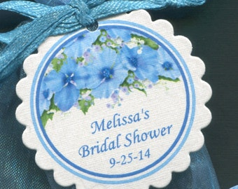 Personalized Bridal Shower Favor Tags - Bridal Shower Tags - Gift Tags - Wedding Tags - Floral Tags - Blue Flowers - Personalized Tag - 25