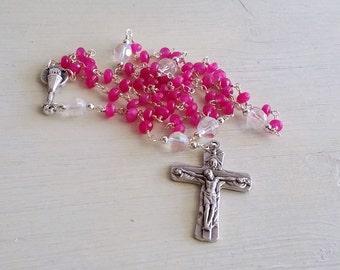 Pink Rosary, Handmade Rosary, Catholic Rosary, Girls Rosary, Rosary Necklace, Religious Necklace