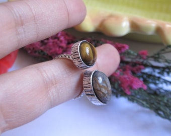 Tiger eye and jasper ring- Double stone ring- GS ring- Boho ring- Gypsy ring-Adjustable ring- Ethnic ring- Tribal ring