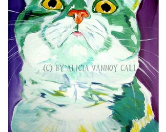 Cat Art, Pet Portrait, DawgArt, Cat Painting, Pet Portrait Artist, Colorful Pet Portrait, Cat Pet Portrait, Art Prints