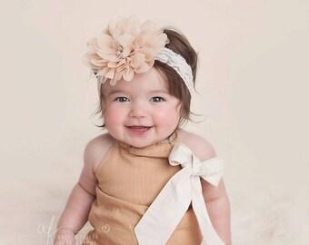 champagne lace headband, newborn lace headbands, infant lace headband, girl lace headband, baby headband, girl headband, lace headbands