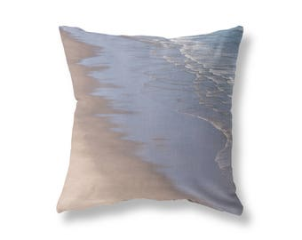 Beach Abstract THROW PILLOW - Beach Sand and Ocean Surf, Pacific Ocean