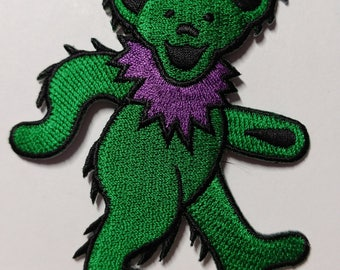 """3"""" Green Dancing Bear Patch Grateful Dead Owsley Stanley Merry Pranksters Steal Your Face"""