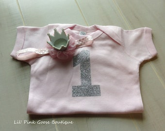 FIRST BIRTHDAY OUTFIT Girl, Pink and Silver Birthday, 1st Birthday, First Birthday, cake smash outfit, Pink and Silver First Birthday outfit