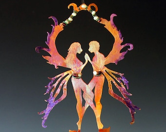 Same Sex Fairies - Valentines's Gift - Fairy Couple with Magical Potion Bottle & Obsidian Wind Chime - A Gift For Lovers