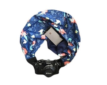 Reversible navy Blue Little Mermaid Camera Strap with Lens Pocket -  The Original Camera Scarf With Pocket