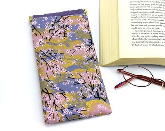 Eyeglasses Case, Sunglasses Cover, Glasses case Kimono Fabric, Cherry Blossoms Gray