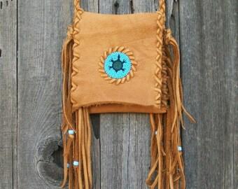 Fringed leather handbag ,  Beaded turtle totem ,  Leather phone bag, Leather handbag