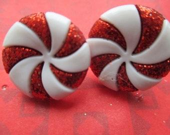 Best Seller-peppermint earrings-clip on earrings-Christmas earrings-Holiday earrings-winter jewelry-kids clip on earrings-peppermint candy