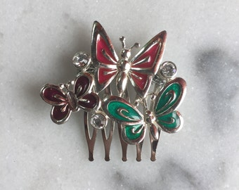 Triple Butterfly Hair Comb made with a Vintage Butterfly Brooch   Repurposed Vintage Brooch   Hair Comb   Hair Jewelry