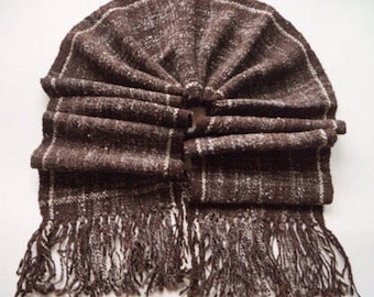 Gift for him, Men's Scarf, winter scarf, Wool Scarf, Hand Woven and Hand Spun Wool Scarf, Merino Wool Scarf