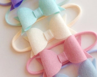 100% wool felt bow on nylon headband - baby toddler headbands, one size headband