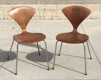 Plycraft Norman Cherner Chairs 1950s Plywood Bentwood Chrome Base