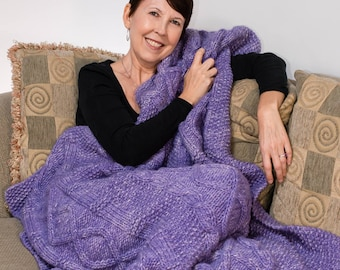 Hand Knit Celtic Afghan, Couch Throw, Blanket, Merino, Purple and White, Cable Knit - 228