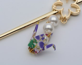 Hair stick,origami jewelry,Kanzashi,Japanese Origami crane hair stick with Swarovski pearls,change your color,pink or purple,Japanese gift