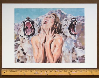 "Archival Print of Original Art, Giclee Print, Howling Nude Female and Snow Leopards, Climate Change Environmental Art - ""Mourning Song"""