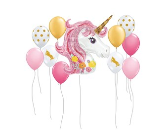 """Unicorn Balloon, Jumbo 33"""" Unicorn Balloon, Kids Party Balloon, Girls Birthday Party Balloon, Birthday Party Decor, Princess Party Decor"""