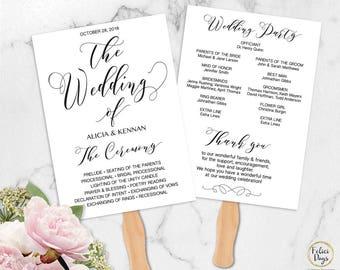 Calligraphy Wedding Program Fan Editable Template, DIY Wedding Program Printable, Ceremony Timeline Printable, PDF Instant Download CW320