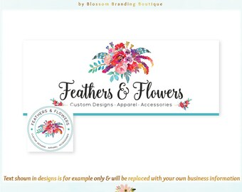 Feather & Florals Facebook Cover + Profile Image - Coordinating Logo Available! Perfect for Boutique, Clothing, Photographer + much more!