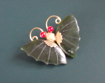 Vintage Jade & Coral Bead Butterfly Brooch Pin And Pendant