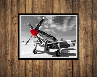 Red Nose P51C Mustang WW2 Fighter Plane Photograph