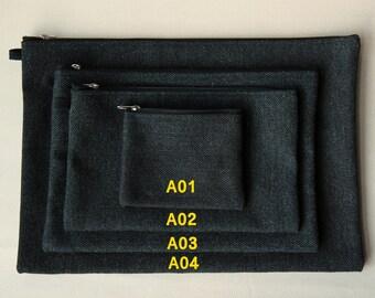 100% Cotton Charcoal Black Oxford Cosmetic Pouch Bag Set (4pcs)