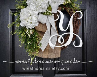 "18""-32"" White Hydrangea Wreath. Year Round Wreath. Spring Wreath. Summer Wreath. Door Wreath. Grapevine Wreath."