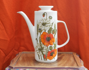 Meakin poppy coffee pot orange & red with olive green