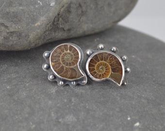 Handmade Sterling Silver Ammonite Earring Stud