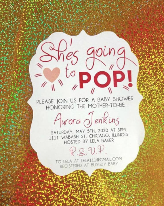 She's going to pop baby shower invitations,  A7 size, simple baby shower invitations, baby shower invitations, going to pop themed party