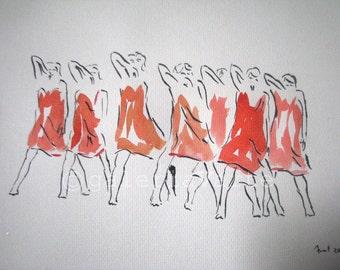 Original ink and watercolor drawing - Modern dance - europeanstreetteam