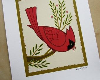Cardinal on Branch Art print