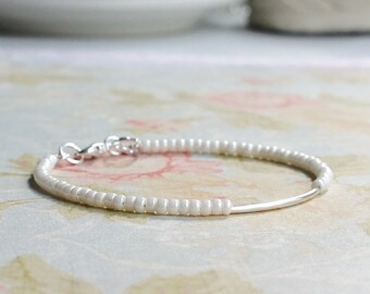 Silver And Ivory Bracelet, Seed Bead Bracelet, Stacking Bracelet, Beaded Bracelet, Silver Tube Bracelet, Dainty Bracelet, Simple Bracelet