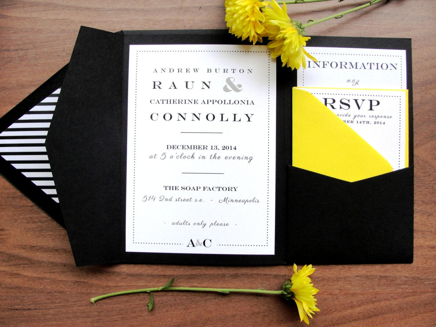 Custom Color Pocket Fold Wedding Invitation Set / Resort