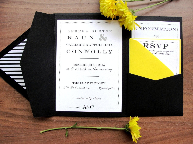 Fold Wedding Invitations: Custom Color Pocket Fold Wedding Invitation Set / Resort