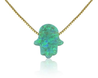 Opal Hamsa Necklace, Green Opal Hand on a Gold Plated Sterling Silver Chain • Safe to get Wet • Always Lowest Price Opal Hamsa on Etsy