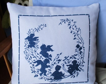 The shadows of the Angels on the hand embroidered pillow
