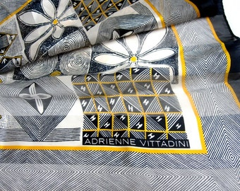 White Black Silk Scarf Adrienne Vittadini