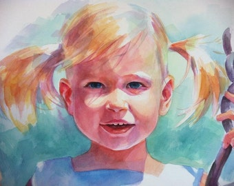 Custom Watercolor Portrait of your Child Based on Your Photo