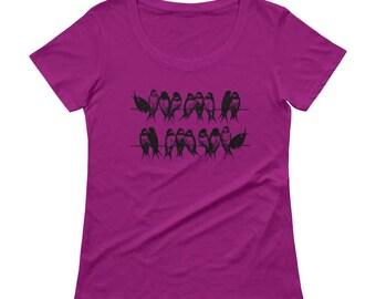 Birds Tshirt - Bird T Shirt - Birds on Wire T Shirt - Graphic Tee Women - Gift for Her - Ladies Tshirt - by Bloom Bloom Wear