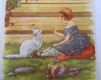 I Like Little Pussy  - A Clara M Burd Vintage Print 1930s Childrens Book Print