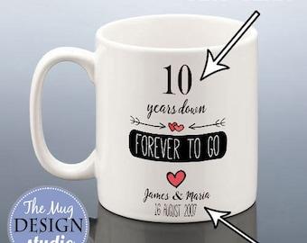 WEDDING ANNIVERSARY MUG / 1st Anniversary Gift / Personalised 7 Year Anniversary Gift / 5 10 15 Years Gift for Wife Anniversary Cup for Her