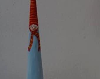 Bonhomme de neige, en papier mâché, Sculpture, Guift Unique, hiver, Noël