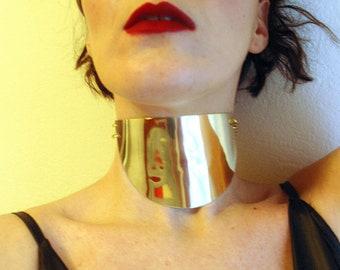 Armor Choker,Cuff Necklace, Metallic Gold or Silver,Bold Collar,Half Circle,Statement Jewelry,Wide Collar