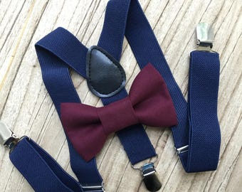 Bowtie & Suspenders- Burgundy Bowtie/Navy Suspenders/Baby and Toddler Bowties/Birthday/Wedding Party