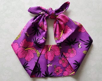 hawaii orchid tiki 50s style pink bandana, rockabilly pin up psychobilly tattoo hairband headband