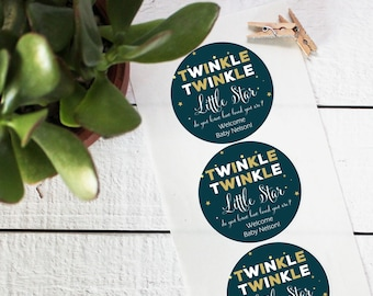 Twinkle Twinkle Little Star Baby Shower Labels - Round | Mason Jar Labels | Twinkle Twinkle Little Star Favors | Baby Shower Favors