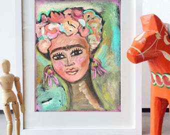 "Frida Kahlo Wall Art - Art Print from Original Painting ""Frida's Flowers"""