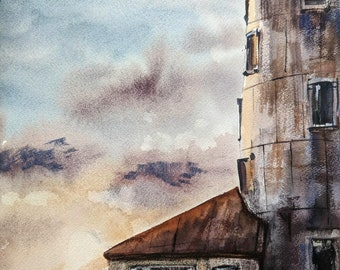 Original one of a kind handmade watercolor painting  LIGHTHOUSE of NAVY PIER 10X13,5 in