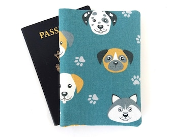 Dog passport cover holder, Men travel accessories, Gift for traveler male, Dalmatian Husky, Father's Day gift idea